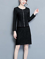 cheap -Women's Casual/Daily Simple Fall Set Skirt Suits,Others Round Neck Long Sleeves Other