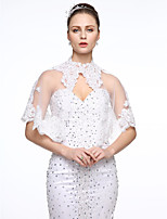 cheap -Sleeveless Lace Tulle Wedding Party / Evening Women's Wrap With Applique Buttons Lace Capelets