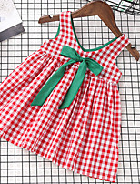 cheap -Girl's Check Dress,Polyester Summer Sleeveless Simple Red
