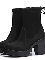 cheap -Women's Shoes Fur Winter Fall Cowboy / Western Boots Combat Boots Boots Chunky Heel Booties/Ankle Boots for Casual Party & Evening Black