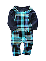 cheap -Baby Boys' Daily Plaid Clothing Set,Cotton Spring Casual Long Sleeve Navy Blue
