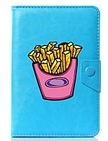 baratos -universal cartoon french fries pu couro stand capa caso para 7 polegadas 8 polegadas 9 polegadas 10 polegadas tablet pc