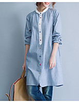 cheap -Women's Daily Casual Fall Shirt,Striped Round Neck Long Sleeve Cotton Thin