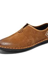 baratos -Homens sapatos Pele Pele Napa Primavera Outono Conforto Mocassins e Slip-Ons para Casual Preto Cinzento Marron Verde Tropa