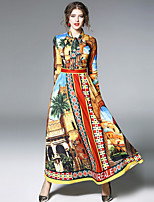 economico -Linea A Fodero Swing Vestito Quotidiano Per uscire sofisticato Moda città Con stampe Colletto alla coreana Medio Maniche lunghe Poliestere