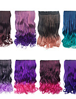 cheap -55CM Ombre Hair Long Wave Synthetic Clip On Hair Extension Women Hair Pieces 5 Clips 20inch 8 Colors Avalible High Temperature Fiber