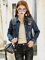 cheap -Women's Going out Casual Street chic Fall Denim Jacket,Print Shirt Collar Long Sleeve Short Cotton Oversized