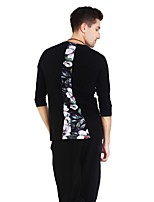 cheap -Latin Dance Tops Men's Performance Spandex Pattern / Print Split Joint 3/4 Length Sleeves Natural Top