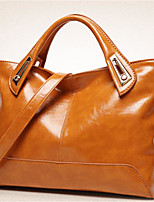 cheap -Women Bags Cowhide Polyester Tote Zipper for Casual All Season Brown Red Black