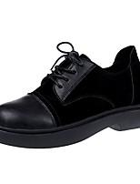 preiswerte -Damen Schuhe PU Frühling Herbst Komfort Modische Stiefel Stiefel Flacher Absatz Runde Zehe Booties / Stiefeletten für Normal Schwarz