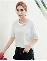 cheap -Women's Casual/Daily Cute Summer Fall T-shirt,Solid Round Neck Short Sleeves Cotton Thin