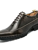 cheap -Men's Shoes Leather Spring Fall Comfort Oxfords for Outdoor Black Gray Red