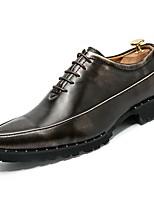 Недорогие -Муж. обувь Натуральная кожа Весна Осень Удобная обувь Туфли на шнуровке для Черный Серый Красный