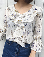 cheap -Women's Casual/Daily Cute Blouse,Print V Neck ¾ Sleeve Polyester