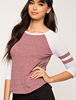 cheap -Women's Daily Going out Casual Active Winter Fall T-shirt,Color Block Round Neck Long Sleeve Polyester Medium