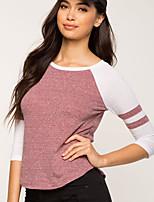 preiswerte -Einfarbig Freizeit Aktiv Alltag Ausgehen T-shirt,Rundhalsausschnitt Winter Herbst Langärmelige Polyester Mittel