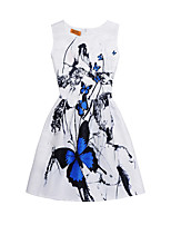 cheap -Girl's Daily Going out Print Dress,Cotton Summer Sleeveless Cute Street chic White