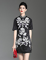 abordables -Trapèze Robe Soirée Vacances Sophistiqué Chinoiserie,Fleur Mao Au dessus du genou Manches courtes Polyester Printemps Eté Taille médiale