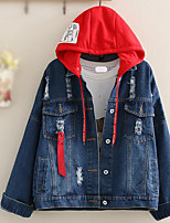 cheap -Women's Going out Street chic Winter Fall Denim Jacket,Solid Hooded Long Sleeve Regular Polyester