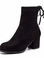 preiswerte -Damen Schuhe Echtes Leder Nubukleder Frühling Herbst Komfort Stiefeletten Stiefel Blockabsatz für Normal Schwarz