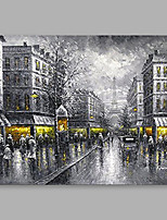 cheap -Hand-Painted Architecture Horizontal, Modern Oil Painting Home Decoration One Panel