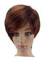 Недорогие -Искусственные волосы парики Прямой силуэт Стрижка каскад Парик из натуральных волос Короткие Темно-русый