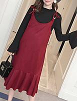economico -Set Vestiti Completi abbigliamento Da donna Quotidiano Casual Inverno Autunno,Tinta unita Rotonda Cotone Acrilico Oversized Maniche lunghe