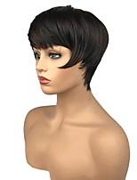 Недорогие -жен. Парики из искусственных волос Короткий Прямой силуэт Темно-коричневый / темно-рыжий Стрижка под мальчика Парик из натуральных волос