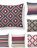 cheap -6 pcs Textile Cotton/Linen Pillow Cover, Striped Plaid/Checkered Geometric