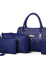 cheap -Women Bags PU Bag Set 4 Pieces Purse Set Zipper for Casual Outdoor Winter Fall Beige Blushing Pink Red Black Blue