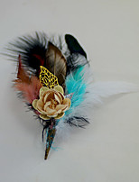 "cheap -Wedding Flowers Boutonnieres Headdress Brooches & Pins Wedding Event/Party Flower & Bud Goose Feather Feathers 1 Inch 6.69""(Approx.17cm)"