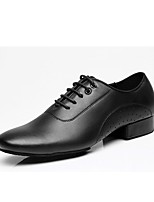 cheap -Latin Leather Oxford Chunky Heel Black Customizable