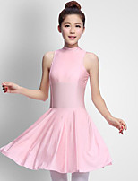 abordables -Ballet Vestidos Mujer Actuación Licra Plisados Sin mangas Cintura Media Vestido