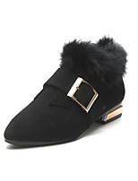 abordables -Mujer Zapatos PU Primavera Botas de Combate Botas Tacón Cuadrado Dedo redondo Mitad de Gemelo para Casual Negro Marrón Claro