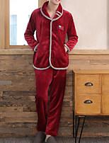 abordables -Costumes Pyjamas Homme,Couleur Pleine Moyen Polyester Marine Gris Vin