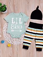 cheap -Baby Unisex Daily Sports Print Clothing Set,Cotton Spring Summer Simple Casual Short Sleeve Light Green