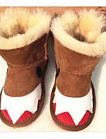 Недорогие -Девочки обувь Мех Зима Осень Удобная обувь Зимние сапоги Ботинки Сапоги до середины икры для Повседневные Лиловый Коричневый Зеленый
