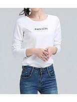 economico -T-shirt Per donna Tinta unita Fantasia geometrica Cotone