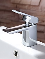 cheap -Contemporary Centerset Waterfall Ceramic Valve Single Handle One Hole Chrome, Bathroom Sink Faucet