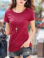 abordables -Mujer Casual Diario Camiseta,Escote Redondo Un Color Mangas cortas Algodón Otro