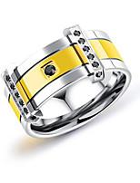 Недорогие -Муж. Классические кольца Стразы Простой На каждый день Мода Титан Сталь Круглый Бижутерия Повседневные Официальные