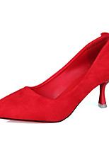 cheap -Women's Shoes PU Fall Comfort Basic Pump Heels Stiletto Heel Pointed Toe for Wedding Office & Career Black Red