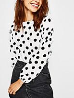 cheap -Women's Cotton Shirt - Polka Dot, Bow