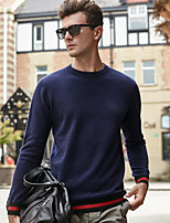 cheap -Men's Daily Casual Regular Pullover,Striped V Neck Long Sleeves Polyester All Season Opaque Thin Stretchy