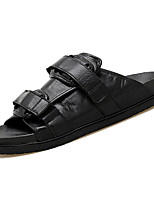 cheap -Men's Shoes Real Leather Spring Summer Comfort Slippers & Flip-Flops for Casual Brown Black