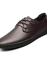 Недорогие -обувь Полиуретан Осень Удобная обувь Туфли на шнуровке для Повседневные Черный Коричневый