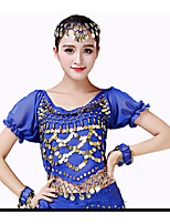 cheap -Belly Dance Tops Women's Performance Chiffon Paillette Short Sleeves High Top