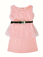 cheap -Girl's Daily Solid Dress,Cotton Summer Sleeveless Cute Casual Blushing Pink