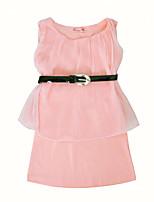 Недорогие -Девичий Платье Повседневные Хлопок Однотонный Лето Без рукавов Очаровательный На каждый день Розовый