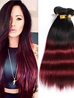 economico -3 pezzi Nero / vino scuro Dritto Brasiliano Tessiture capelli umani Extensions per capelli 0.3kg